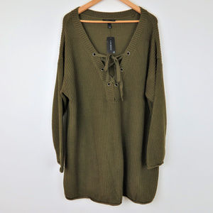 NWT Lane Bryant | Army Green Lace Up Sweater